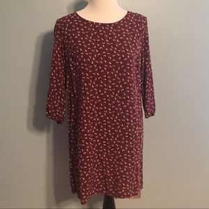 {Old Navy} Burgundy Shift Dress with Flower Print